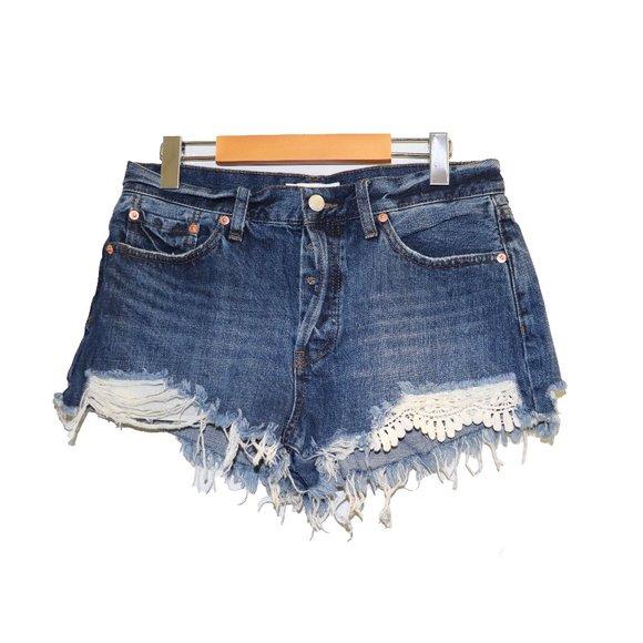 Free People We The Free Raw Cut Boho Jean Shorts
